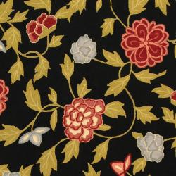 "Safavieh Hand-Hooked Garden Black Wool Floral Rug (3'9"" x 5'9"") - Thumbnail 2"