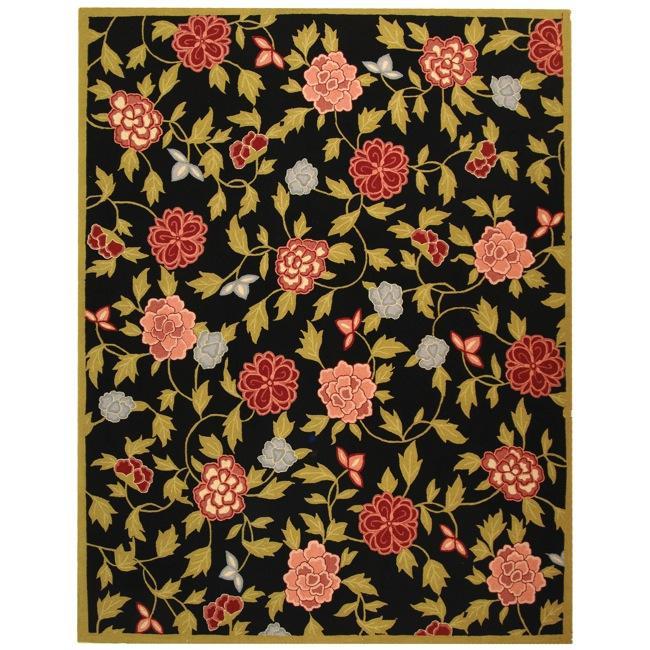 Safavieh Hand-Hooked Garden Black Rectangle Wool Rug - 5'3 x 8'3