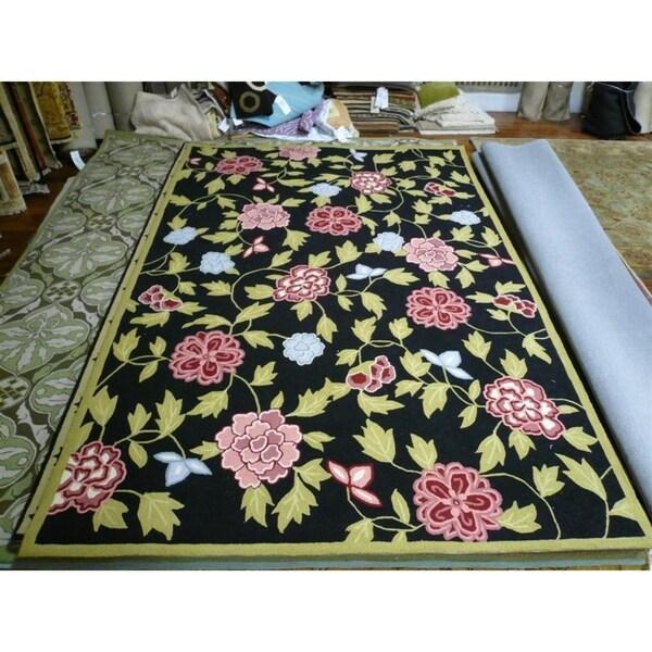 "Safavieh Hand-Hooked Garden Black Rectangle Wool Rug - 5'3"" x 8'3"""