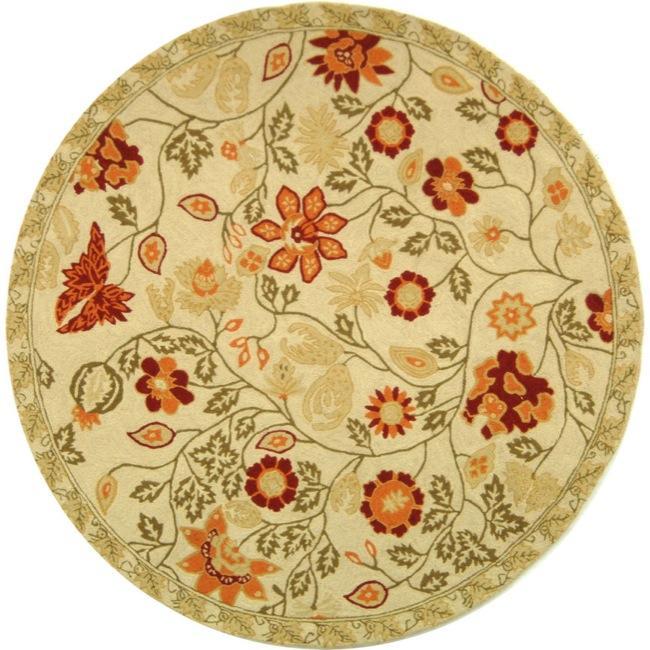 Safavieh Hand-hooked Eden Ivory Wool Rug - 3' x 3' round