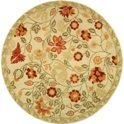 Safavieh Hand-hooked Eden Ivory Wool Rug - 3' x 3' round - Thumbnail 0