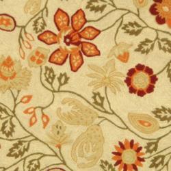 Safavieh Hand-hooked Eden Ivory Wool Rug (4' Round) - Thumbnail 2