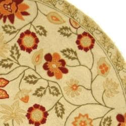 Safavieh Hand-hooked Eden Ivory Wool Rug (8' Round) - Thumbnail 1