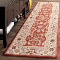 Safavieh Hand-hooked Tabriz Rust/ Ivory Wool Runner Rug - 2'6 x 12'