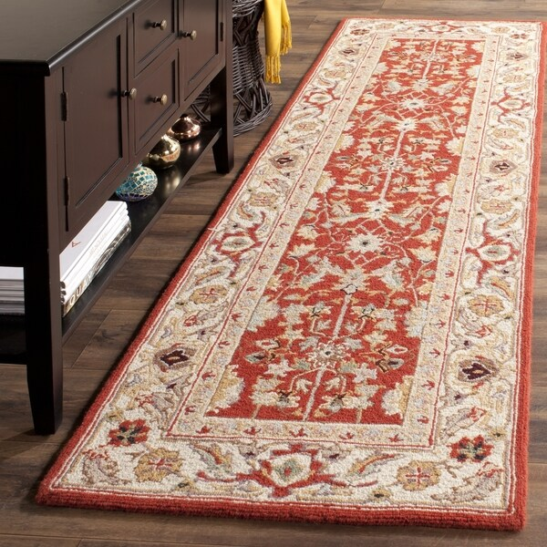 Safavieh Hand-hooked Tabriz Rust/ Ivory Wool Runner (2'6 x 12')