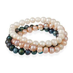 Glitzy Rocks Multi-colored Freshwater Pearl Stretch Bracelets (Set of 3)