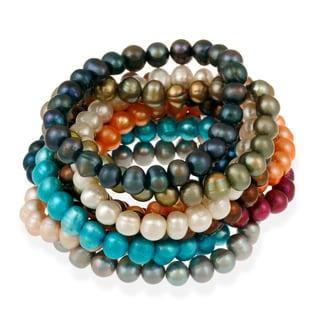 Glitzy Rocks Colored Freshwater Pearl Stretch Bracelet (8-9 mm)
