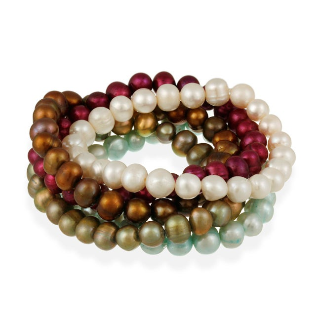 Glitzy Rocks Set of 5 Multicolor Freshwater Pearl Stretch Bracelets (8-9 mm) - Thumbnail 0