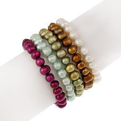 Glitzy Rocks Set of 5 Multicolor Freshwater Pearl Stretch Bracelets (8-9 mm) - Thumbnail 1