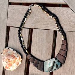 Handmade Wood and Blacklip Shell Necklace (Philippines)
