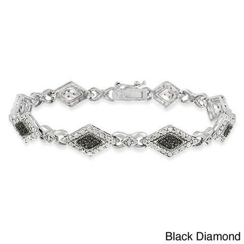DB Designs Sterling Silver Black or Champagne 1/3ct TDW Diamond Bracelet