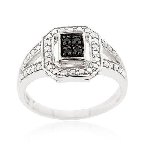 DB Designs Sterling Silver 1/6ct TDW Black Diamond Ring