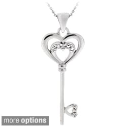 DB Designs Sterling Silver Diamond Accent Key Necklace