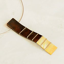 Stainless Steel, Wood, and Mother of Pearl Choker Necklace (Philippines)