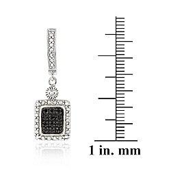 DB Designs Sterling Silver 1/4ct TDW Black Diamond Dangle Earrings - Thumbnail 2
