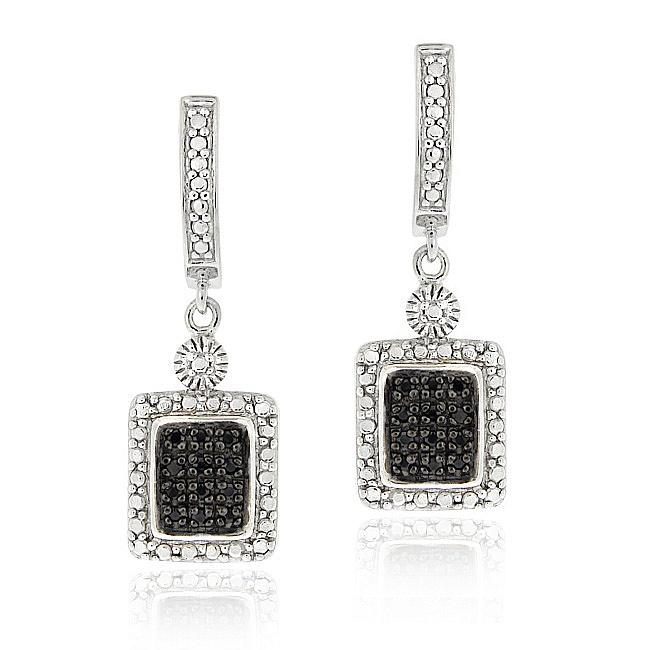 DB Designs Sterling Silver 1/4ct TDW Black Diamond Dangle Earrings