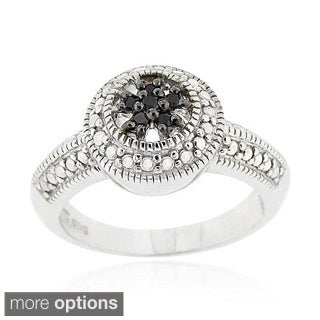 DB Designs Sterling Silver Black or Brown Diamond Accent Flower Ring (Option: Brown)