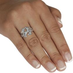 Journee Collection  Sterling Silver Two Pair Footprint Ring - Thumbnail 2