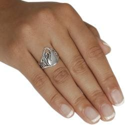 Journee Collection  Sterling Silver Swan Ring - Thumbnail 2