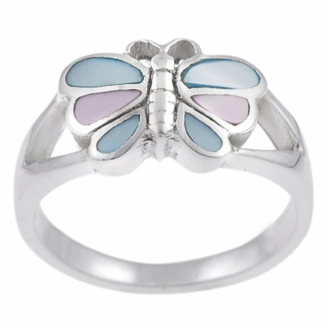 Journee Collection Sterling Silver Mother of Pearl Butterfly Ring