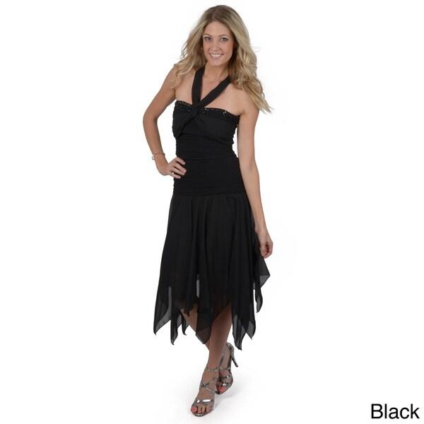 S Max by Adi Women's Shirred Bodice Handkercheif Hem Dress