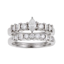 Eloquence 14k White Gold 1ct TDW Diamond Bridal Ring Set