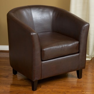 Preston Brown Bonded Leather Barrel Club Chair by Christopher Knight Home
