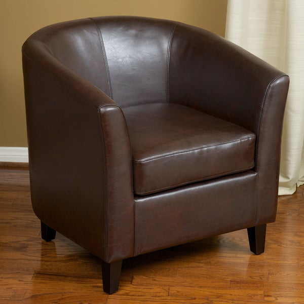 Preston Brown Bonded Leather Barrel Club Chair By