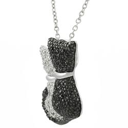 Journee Collection  Sterling Silver Cubic Zirconia Black and White Cat Necklace