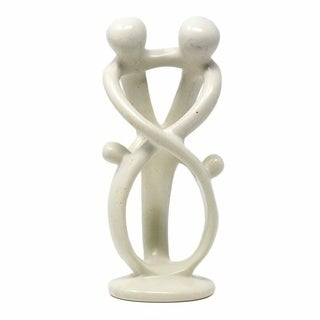 Handmade Soapstone Loving Family Embrace Sculpture (Kenya)