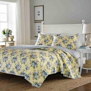 laura ashley linley reversible 3piece full queensize quilt set