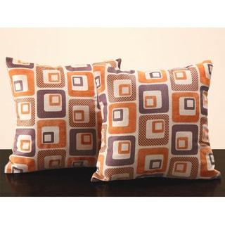 Tribecca Home Orange Cube Print 18-inch Throw Pillows (Set of 2)