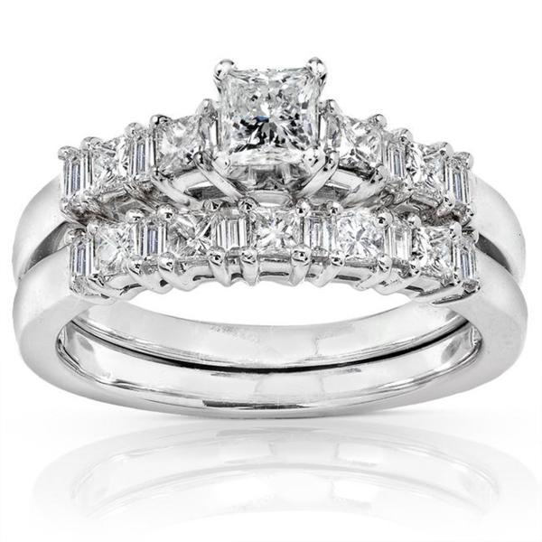 Annello by Kobelli 14k White Gold 3/4ct TDW Baguette Mixed Cut Diamond Bridal Set (H-I, I1-I2)
