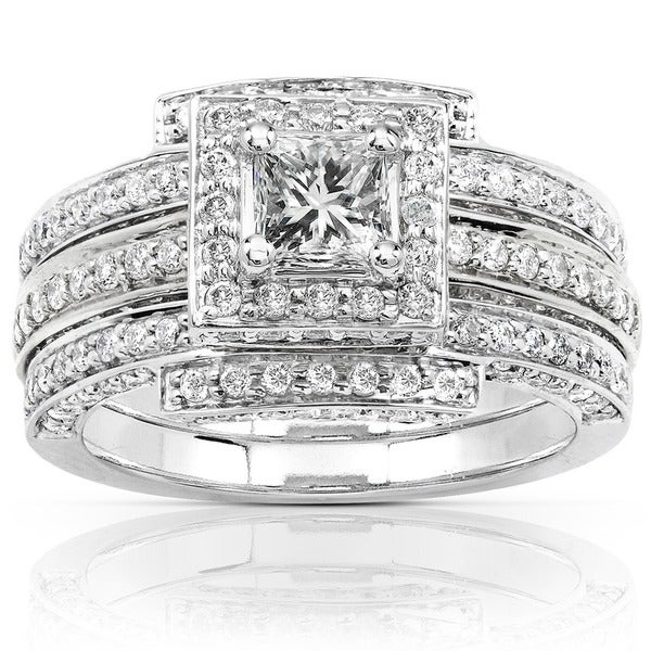 Annello by Kobelli 14k White Gold 1 1/2ct TDW Diamond Princess Halo Bridal Ring Set (H-I,