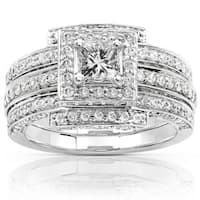Annello by Kobelli 14k White Gold 1 1/2ct TDW Diamond Princess Halo Bridal Ring Set