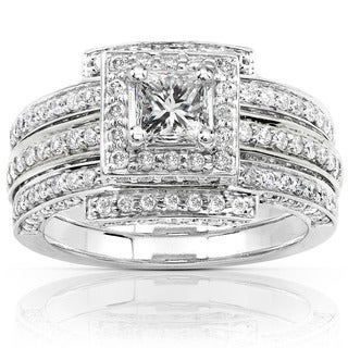 Annello 14k White Gold 1 1/2ct TDW Diamond Princess Halo Bridal Ring Set