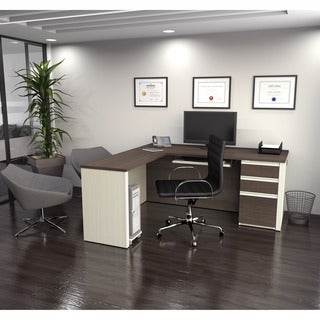 Bestar Prestige L-shaped Desk with Pedestal
