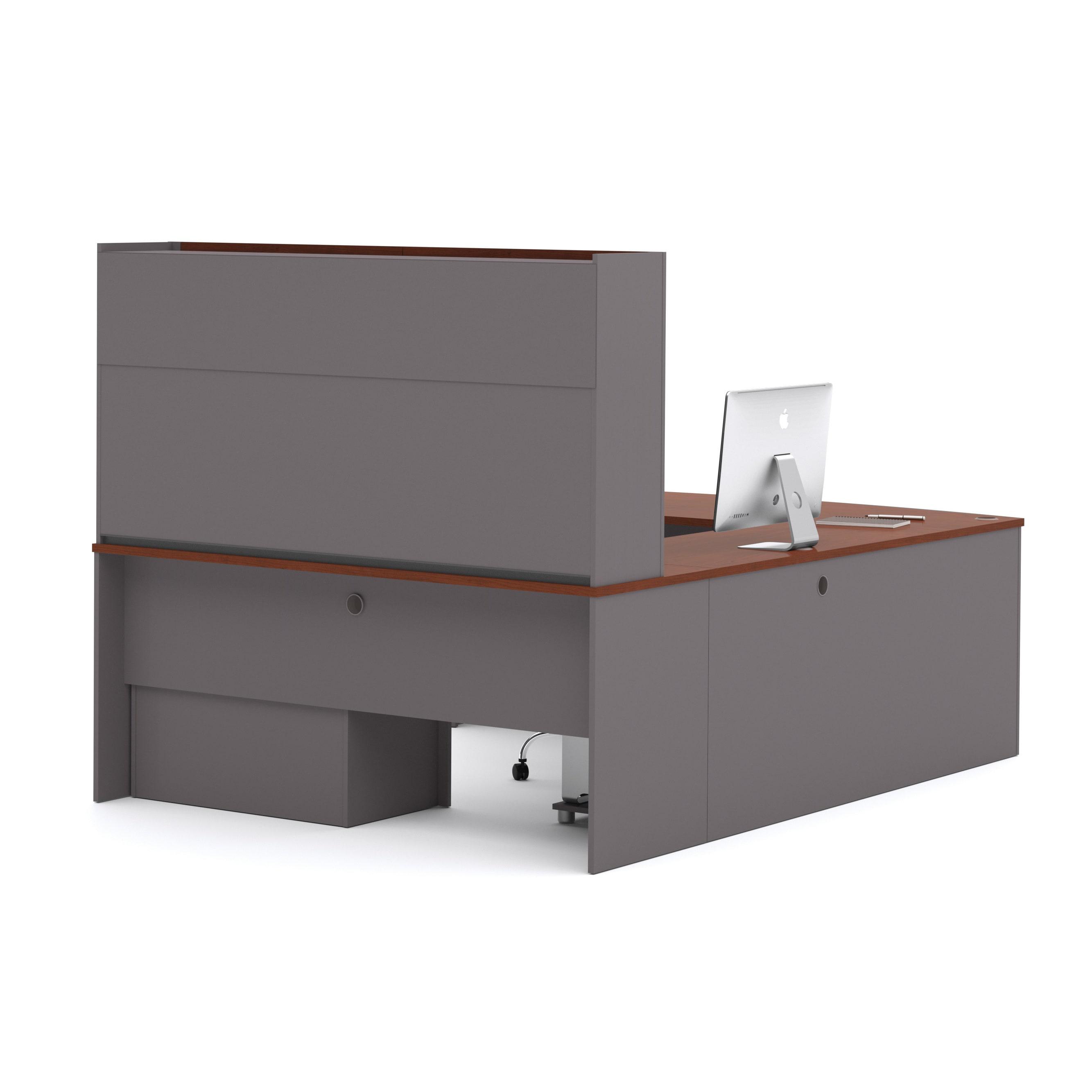 Bestar Connexion U-shape Desk with Hutch (Brown)