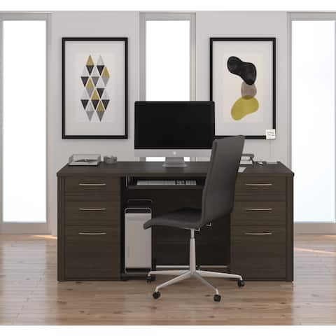 Bestar Embassy Collection Laminate Double Pedestal Office Desk