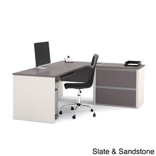 Bestar Connexion L-desk with Oversized Pedestal