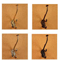 Victorian Triple Hook Solid Brass Coat Hooks (Set of 2)