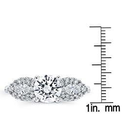 14k Gold 2/5ct TDW Round and Marquise Diamond and CZ Ring (H, SI1) - Thumbnail 2