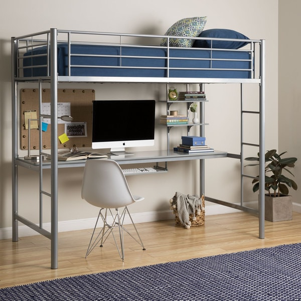 silver metal twin bunk bed with desk free shipping today 13050716. Black Bedroom Furniture Sets. Home Design Ideas