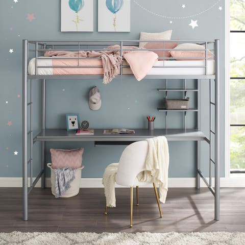 Taylor & Olive Abner Twin Metal Loft Bed with Desk - Silver