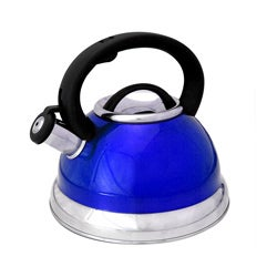 Alpine Cuisine Metalic Blue 3 qt. Stainless Steel Whistling Tea Kettle with Capsule Base