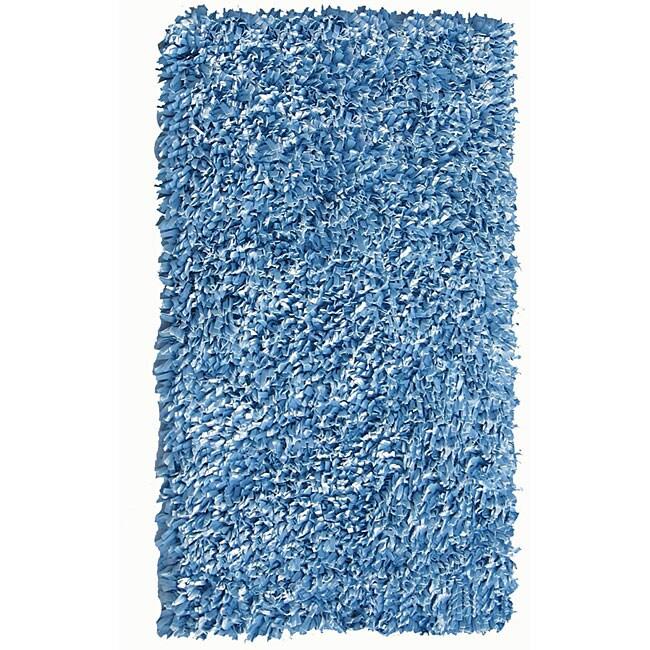Soft Cotton Blue Shag Rug (3'6 x 5'6)