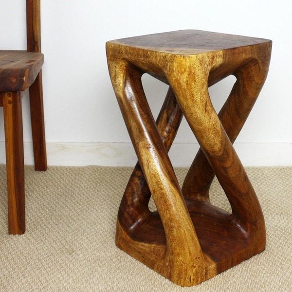 Hand-carved Wood Vine Twist Stool (Thailand)