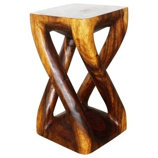"Handmade Wood Vine Twist Stool End Table (Thailand) - 12"" x 12"" x 22"""