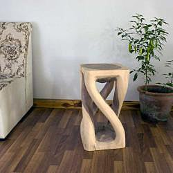 Hand-carved Wooden White Vine Twist Stool (Thailand) - Thumbnail 1