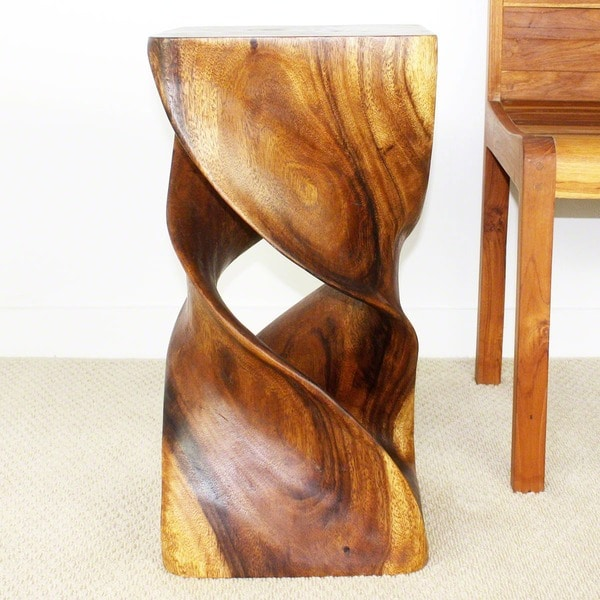 Handmade Wooden Double Twist Stool (Thailand)